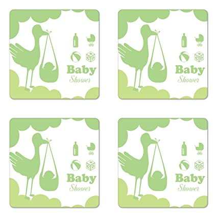 Amazon Com Lunarable Green Coaster Set Of Four Silhouette Of A