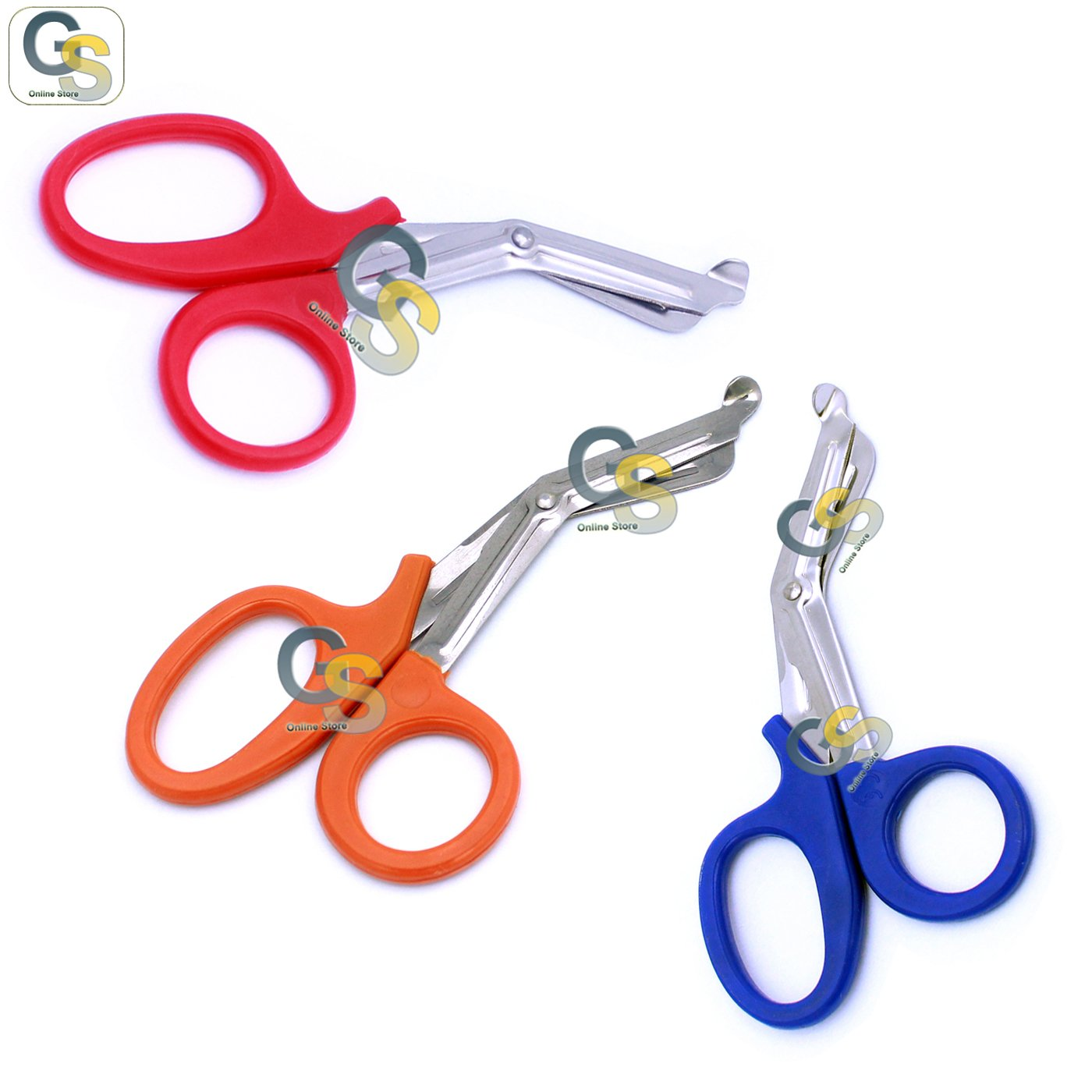 G.S 3 PCS (RED & NEON ORANGE & BLUE) PARAMEDIC UTILITY BANDAGE TRAUMA EMT EMS SHEARS SCISSORS 7.25 INCH STAINLESS STEEL