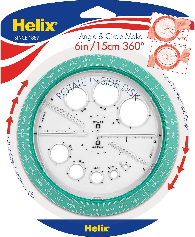 Helix Profi-Winkelmesser Winkel /& Kreis-Zeichner 360 Degree Sortiert