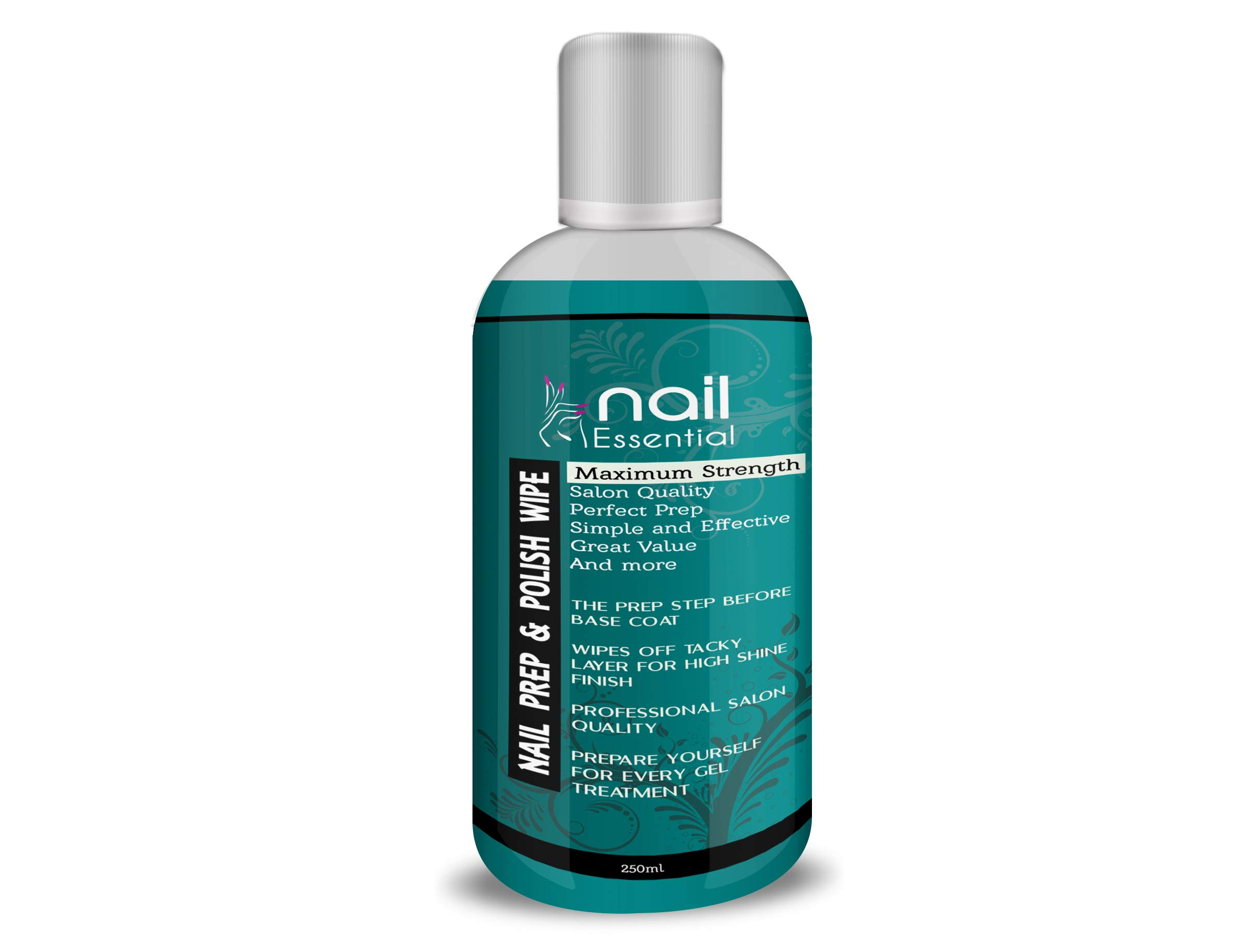 Nailessential Prep and Wipe for Gel Nails Polish Shine Remover Cleaner UV LED Manicure Pre & Post Wipe, Sanitising & Removing Tacky Layer 250ml