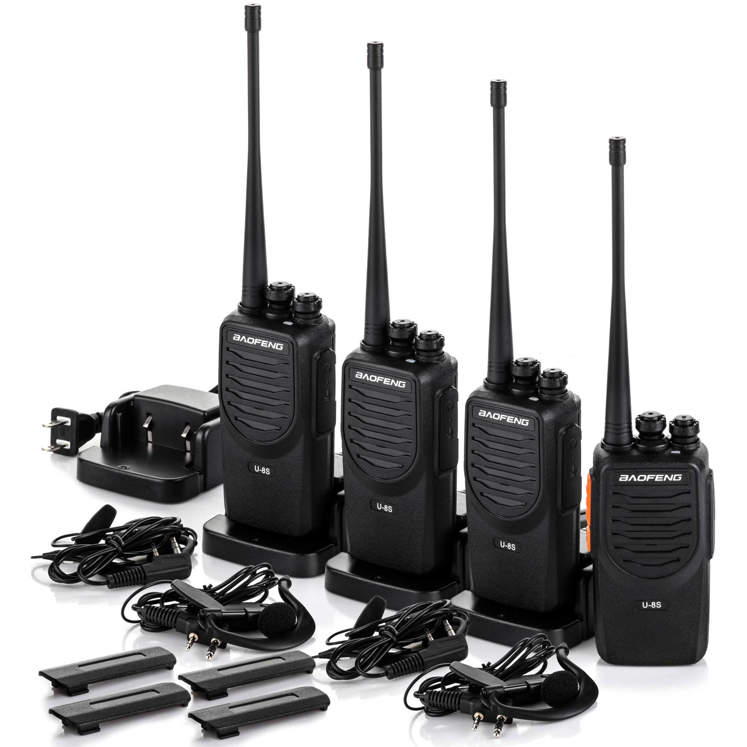 Upgraded BaoFeng Walkie Talkies 4 Pack Long Range Two Way Radio UHF 400 470MHz 16-Channel Walkie Talkies with Earpiece