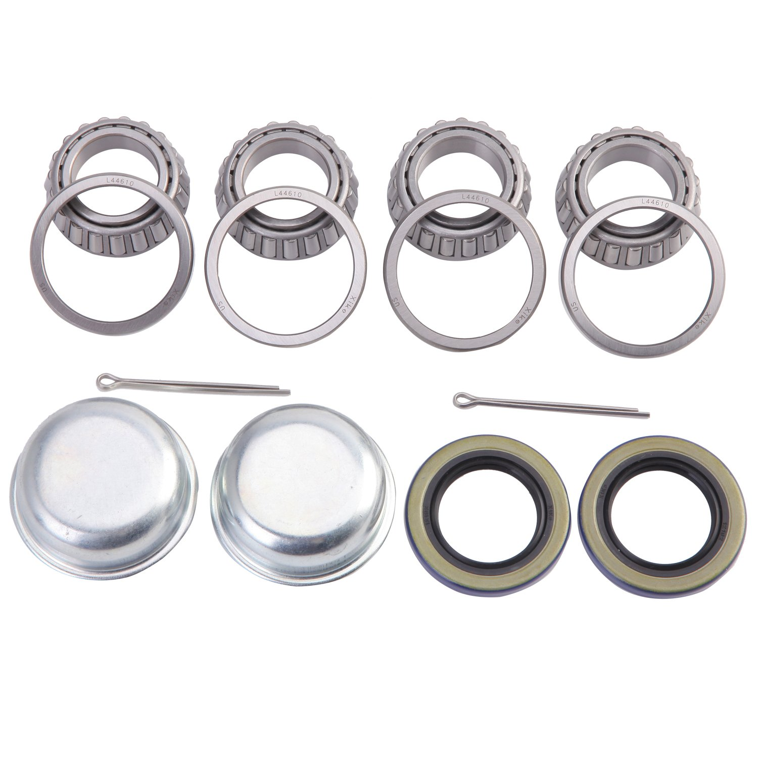 XiKe 2 Set Trailer Axle Hub Bearings Wheel Kit for Spindle 1-1/16'' or 1.062 Inch, Rotary Quiet High Speed and Durable. L44649/L44610, 12192TB Seal OD 1.980'', Dust Cover and Cotter Pin.
