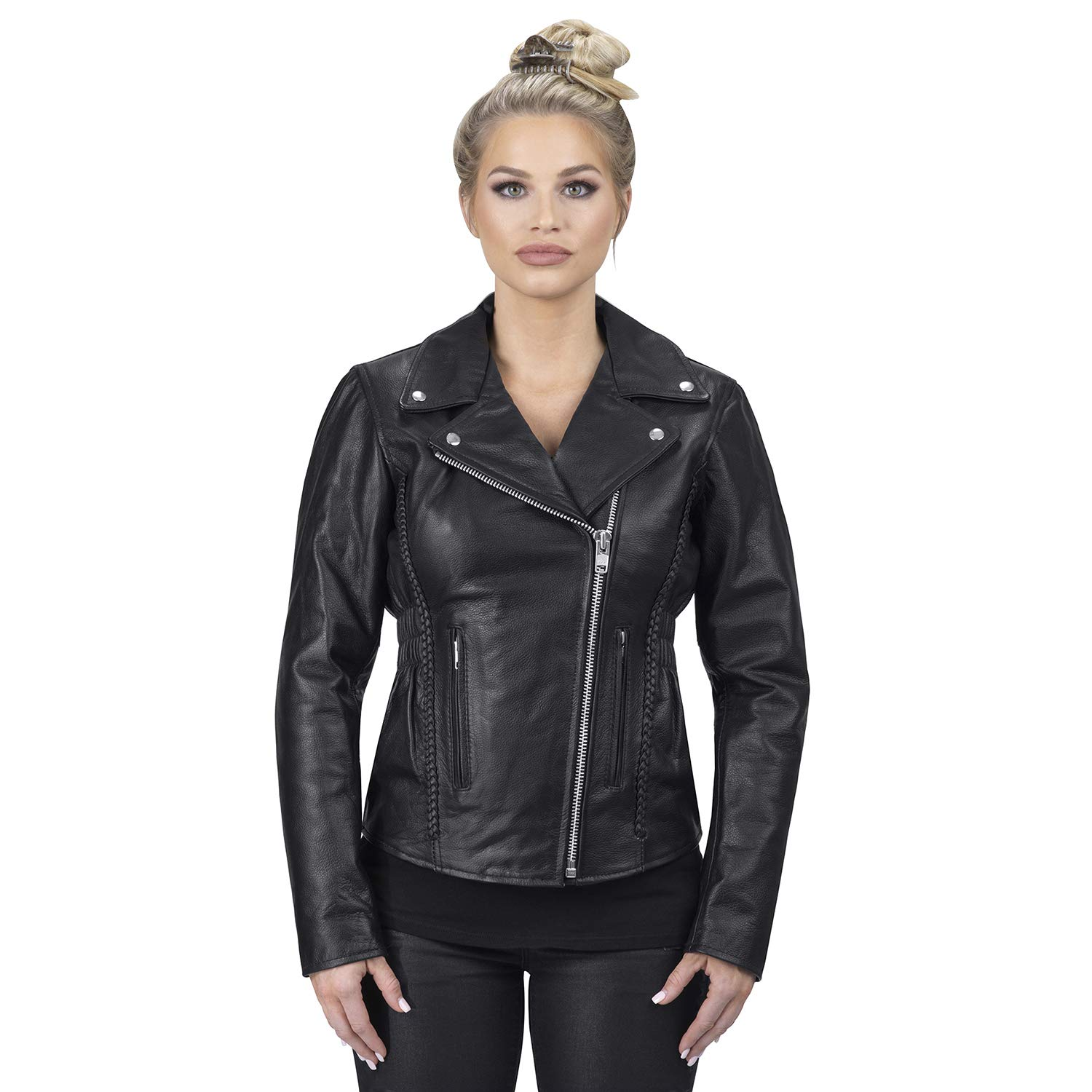 Viking Cycle Cruise Premium Grade Cowhide Leather Motorcycle Jacket for Women (X-Small, Black) by Viking Cycle
