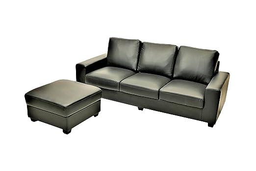 Vintage Sofa Orlando 3 Sitzer Mit Hocker Schwarz Amazonde Gewerbe