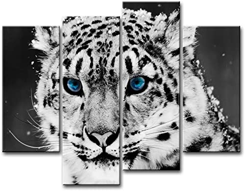 Black and White 4 Piece Wall Art Painting Blue Eye Snow Leopard Prints On Canvas The Picture Animal Pictures Oil