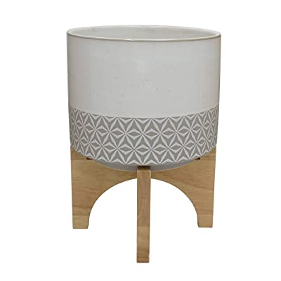 "Rivet Mid-Century Stoneware Planter with Wood Stand, 13.98""H, Gray and Beige: Home & Kitchen"