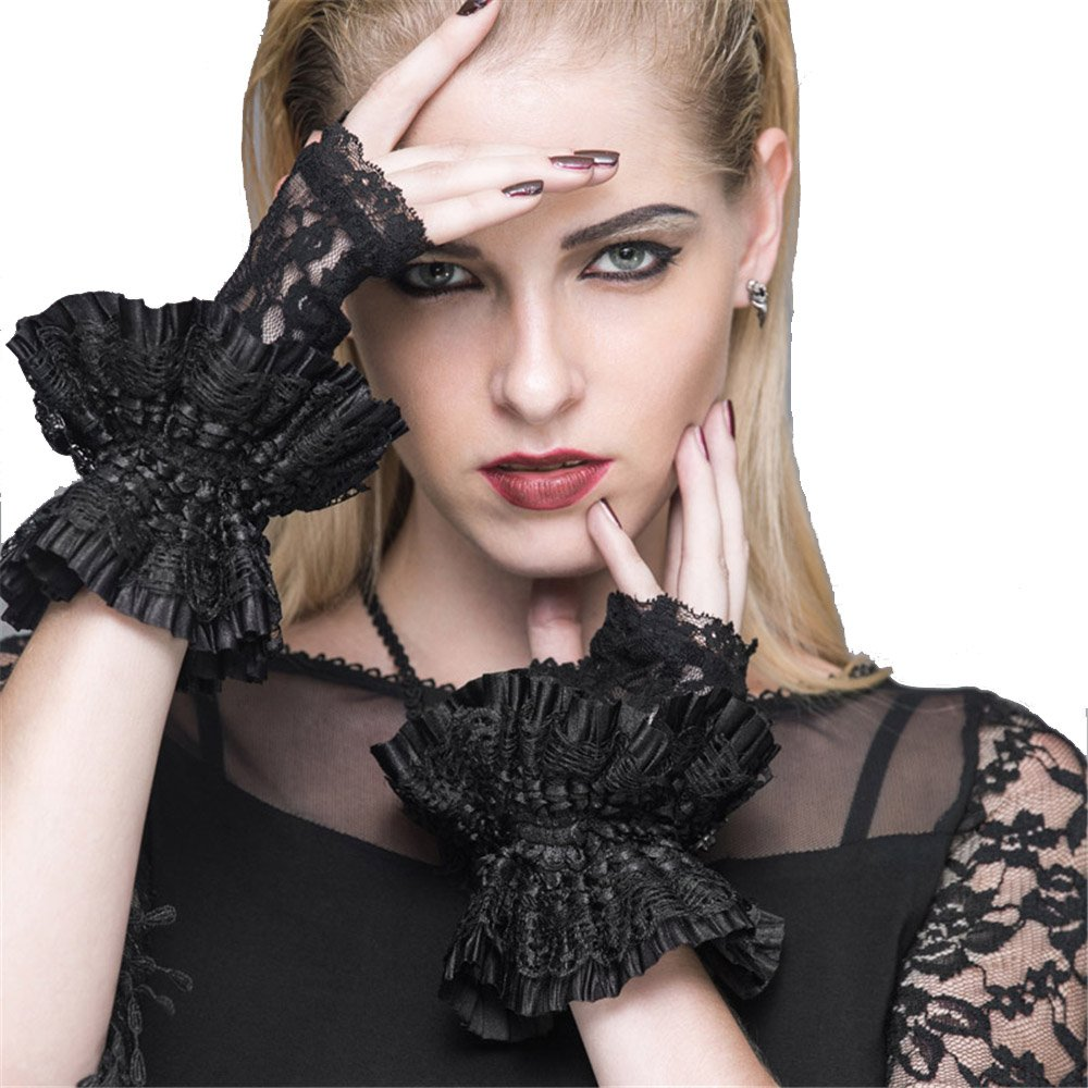 Gothic Punk Lace Gloves for Women Half Finger Wedding Party Black Flower Gloves GE007