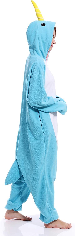 Unisex Narwhal Onesie Adult Pajamas Animal Halloween Costume Cosplay One Piece Sleepwear for Women Men