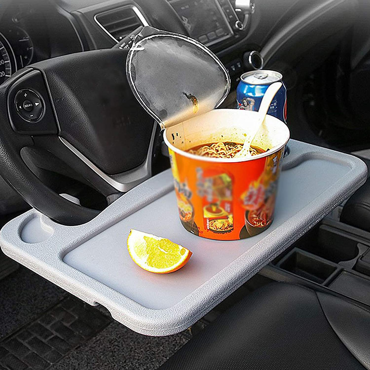 Car Steering Wheel Tray for Eating Food,Steering Wheels Desk Road Trip Essentials for Adults,Car Table Food Trays Organization,Cars Cool Interior Gadgets Accessories(Gary)