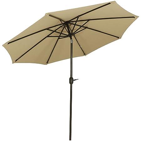 Sunnydaze Sunbrella Patio Umbrella with Auto Tilt and Crank, 9 Foot Outdoor Market Umbrella, Rust Resistant Aluminum, Sunbrella Beige