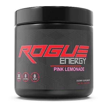 Rogue Energy – Gaming Drink for Hours of Energy Focus, Esports Gamer Supplement, Sugar Gluten Free Pink Lemonade Tub 30 Servings