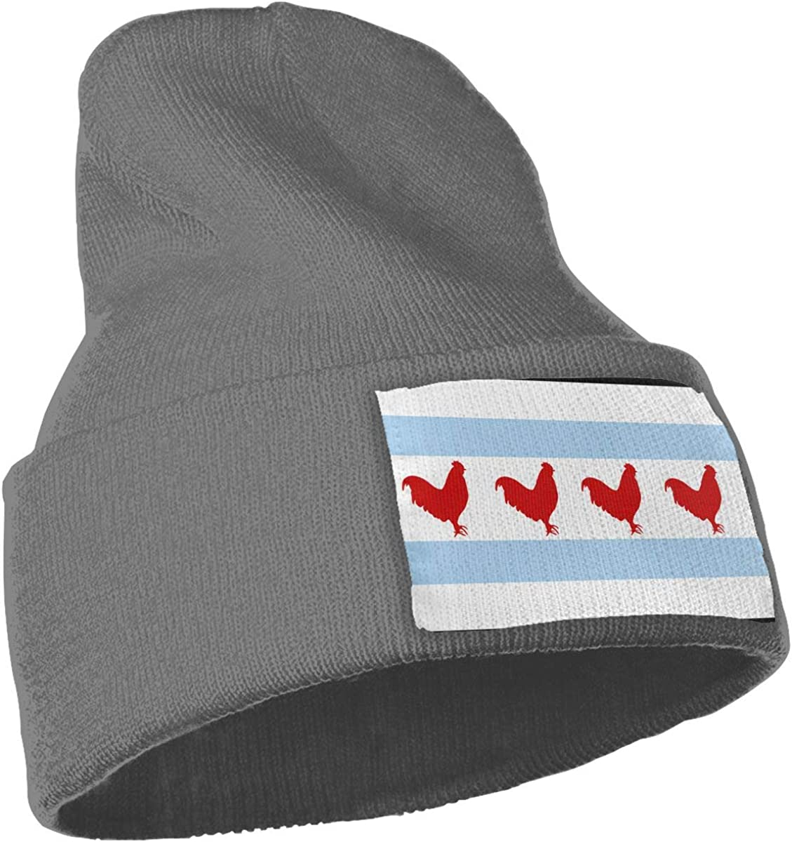 Chicago Flag Chicken-3 Soft Skull Cap WHOO93@Y Mens and Womens 100/% Acrylic Knit Hat Cap
