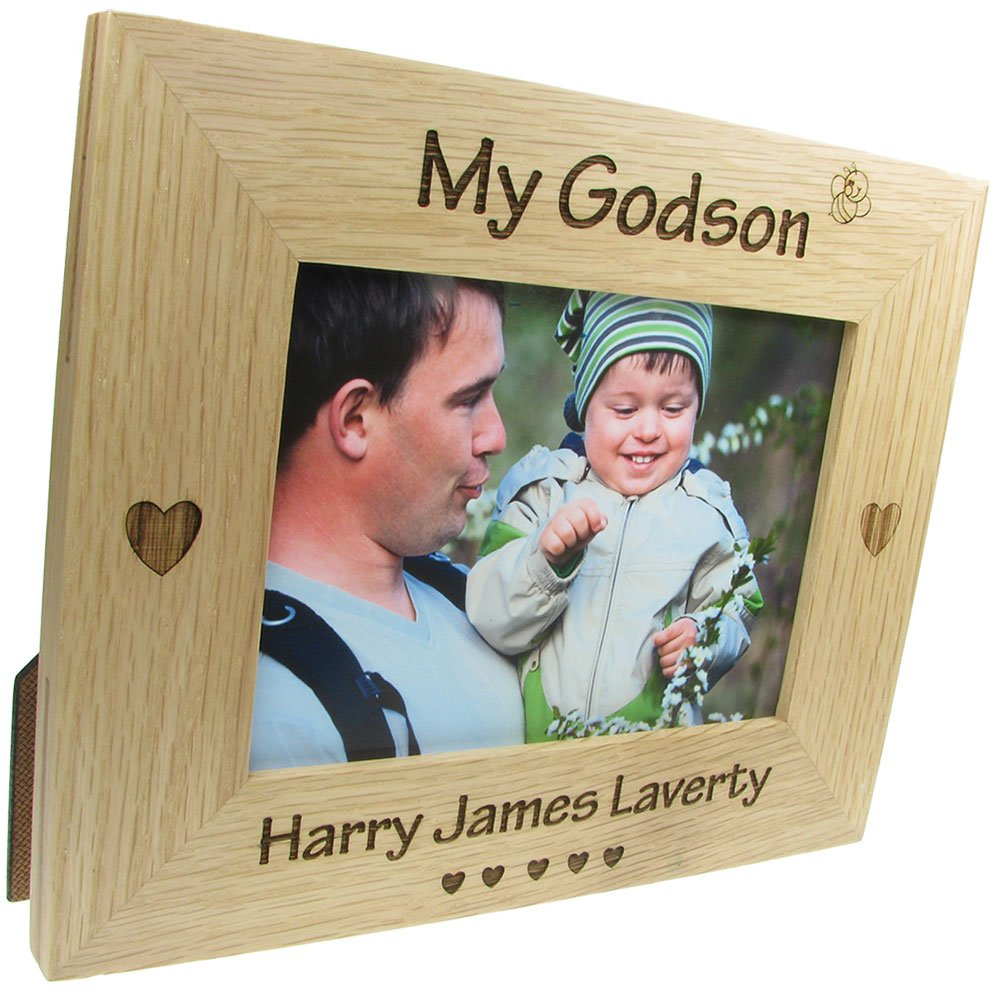 Godparent Gift, \'My Godson\' Personalised Oak Photo Frame ...