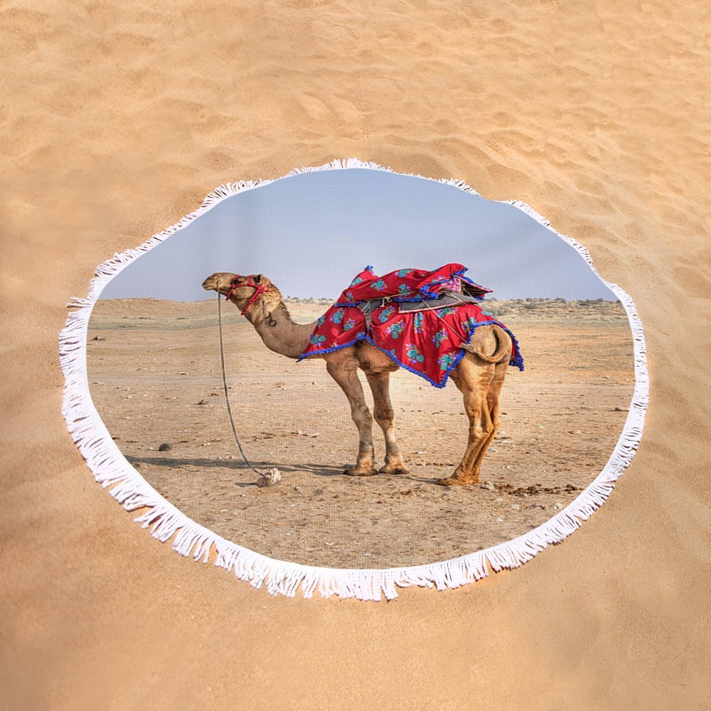 Pixels Round Beach Towel With Tassels featuring ''Thar Desert - India'' by Joana Kruse