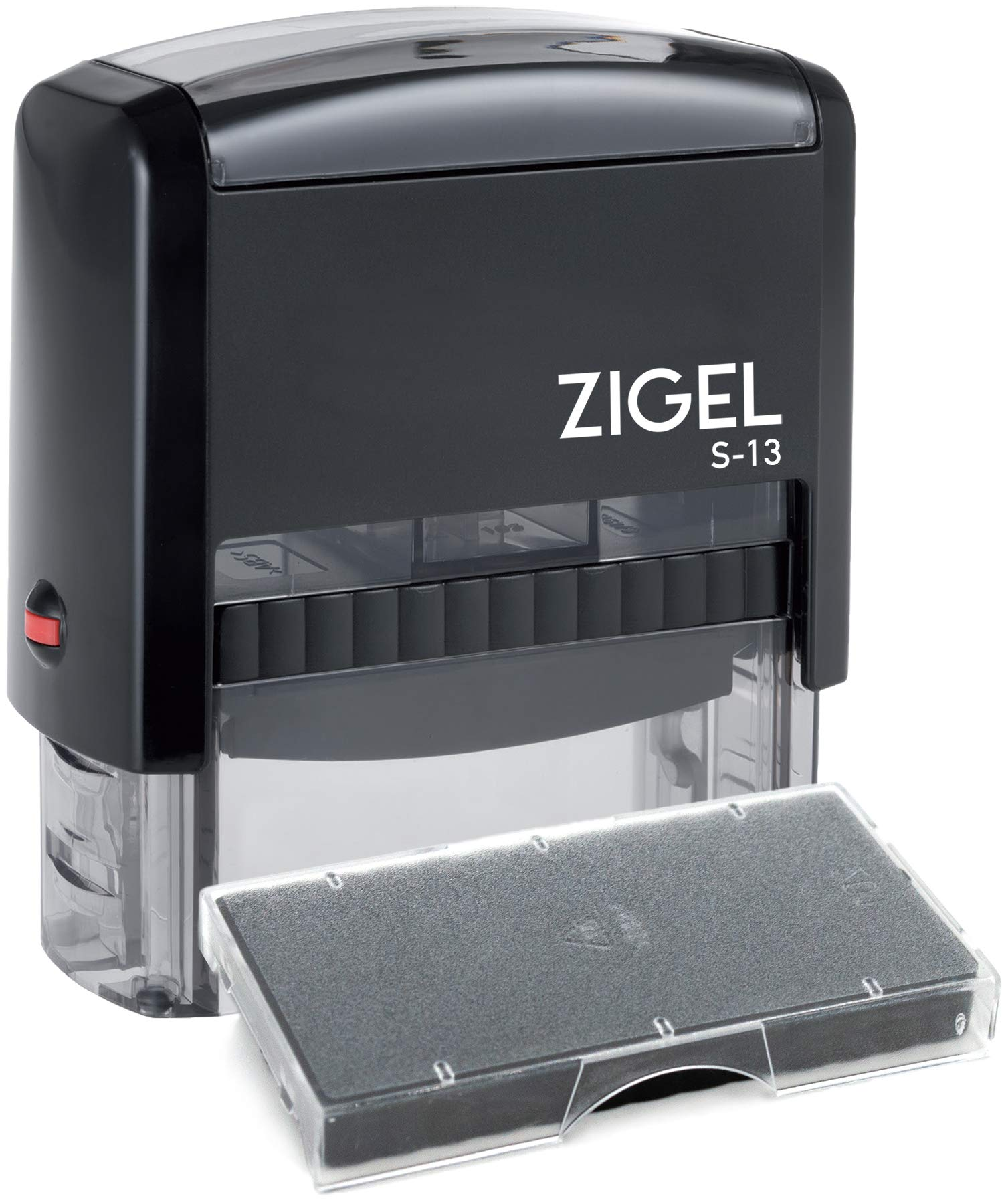 ZIGEL S-13 Large Text Stamp 7/8'' x 2-3/8'' with Extra Replacement Ink Pad - Customize Online up to five lines of type - Many font and color choices