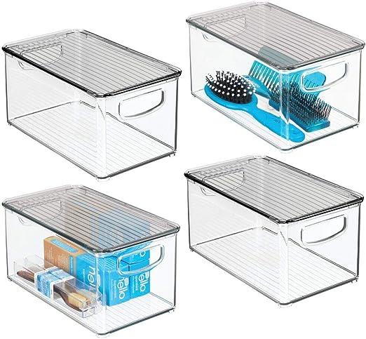 transparente//gris mDesign Caja organizadora con asas integradas Cajas de pl/ástico transparente con tapadera Perfecto organizador de maquillaje para el ba/ño