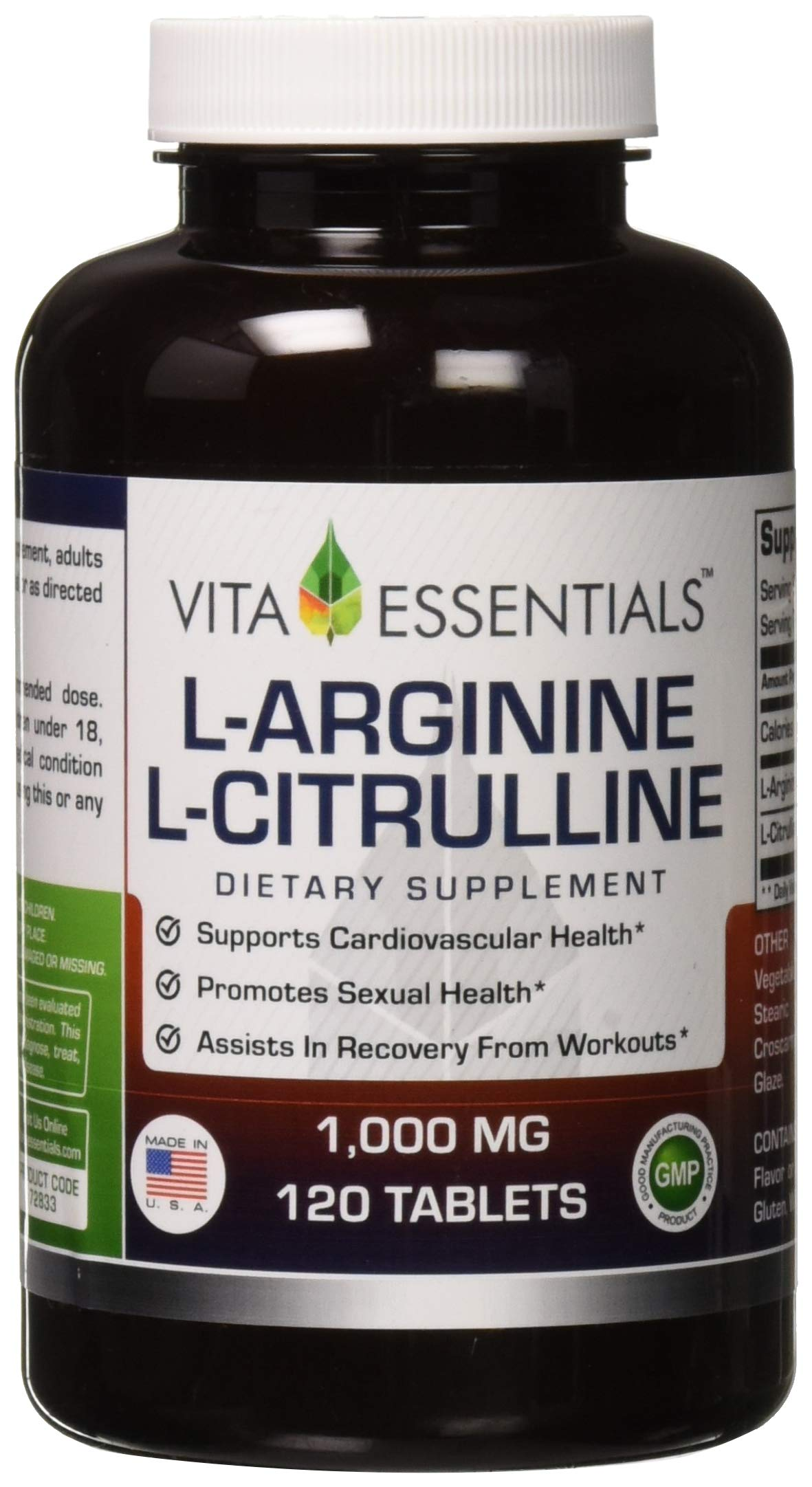 Vita Essentials Tablets, L-Arginine/l-Citruline, 1000 Mg, 120 Count by Vita Essentials