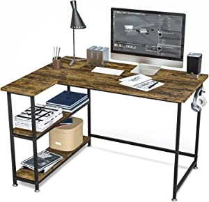 Computer Desk with Storage Shelves, Writing Study Table Desk for Bedrooms Modern Style Laptop Home Office Desk