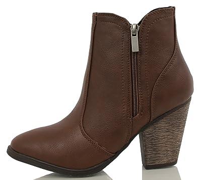 e58a649458f8 dollhouse Women s Arrogant Cowboy Western Faux Leather Side Zipper Ankle  Boot