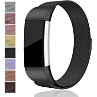 Maledan Bands for Fitbit Charge 2 , Stainless Steel Milanese Loop Metal Replacement Accessories Bracelet Strap Unique Magnet Lock for Fitbit Charge 2