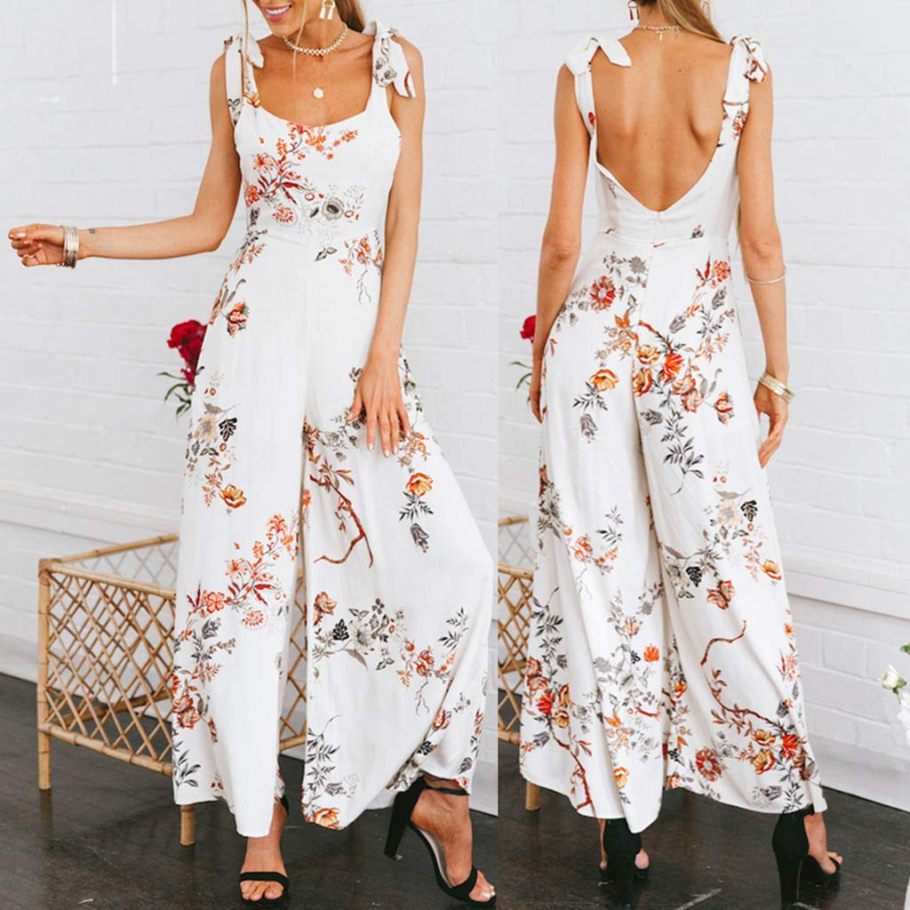 Floral Printed Jumpsuit Women Halter Sleeveless Stretch Wide Long Pants Casual Summer Beach Rompers Playsuit