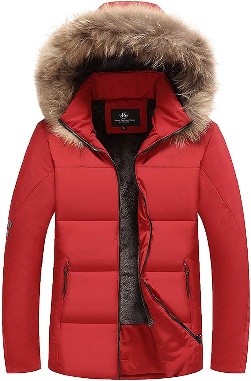 Winter Jackets Men Hooded Fleece Warm Thick Parka Men Casual Big Size Winter Coats Men,red,L