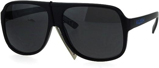KUSH Sunglasses Mens Matte Black Square Rectangular Frame UV 400