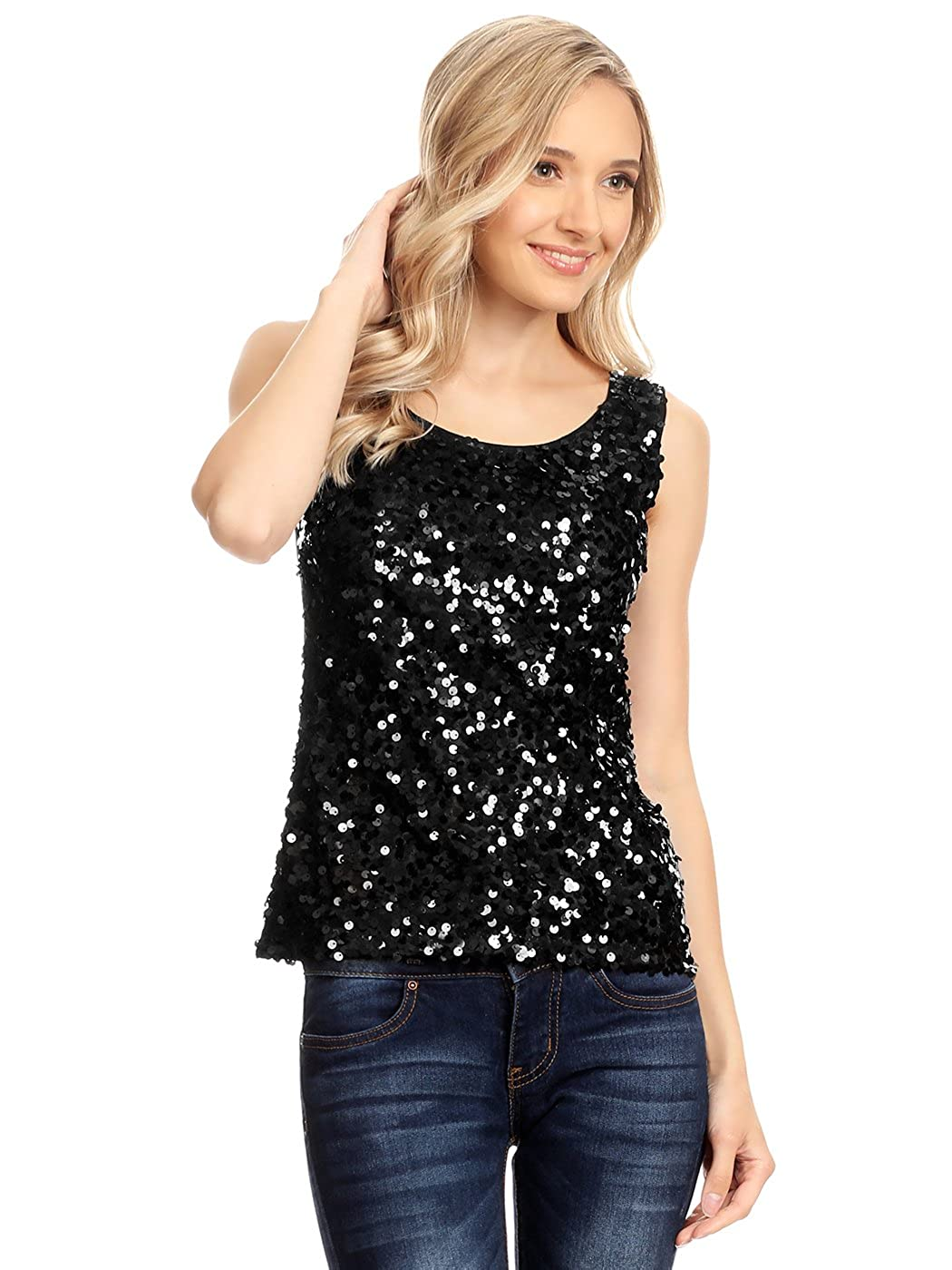 86fe27b712 A sparkly embellished tank top beaded entirely in round shiny metallic  sequins in the front with a comfortable fit soft polyester jersey knit  material ...