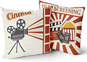 Granbey 2PCS Vintage Cinema Pillow Cover The Film Admit Tickets Decorative Throw Pillow Case Movie Theater Style Pillowcase Filmstrip Clapboard Projector Printed Pillow Cushion Case Home Decor 18x18