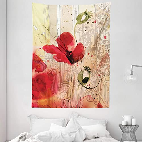 Ambesonne Flower Tapestry, Red Poppy Flower Paint Brush Effect Beige Floral Design Digital Art Print, Wall Hanging for Bedroom Living Room Dorm, 60 X 80 , Red Ivory