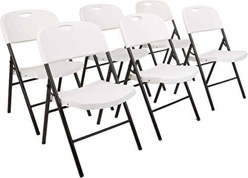 AmazonBasics Folding Plastic Chair, 350-Pound Capacity, White, 6-Pack