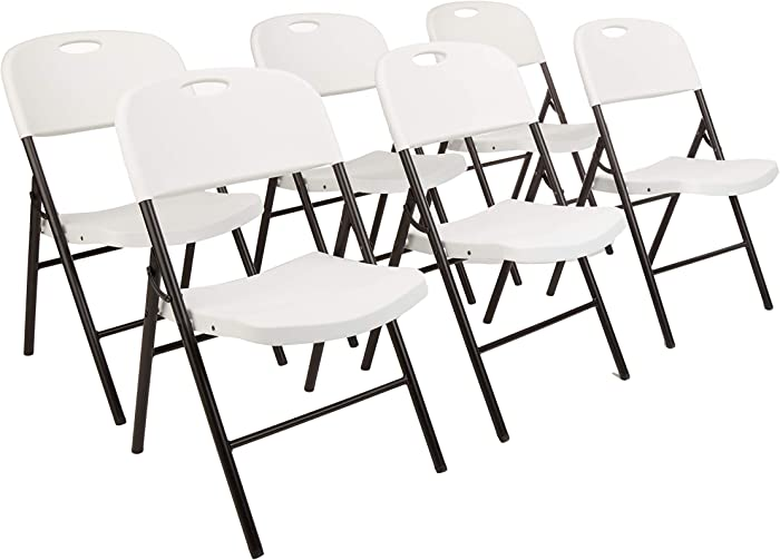 AmazonBasics Folding Plastic Chair, 350-Pound Capacity, White, Set of 6