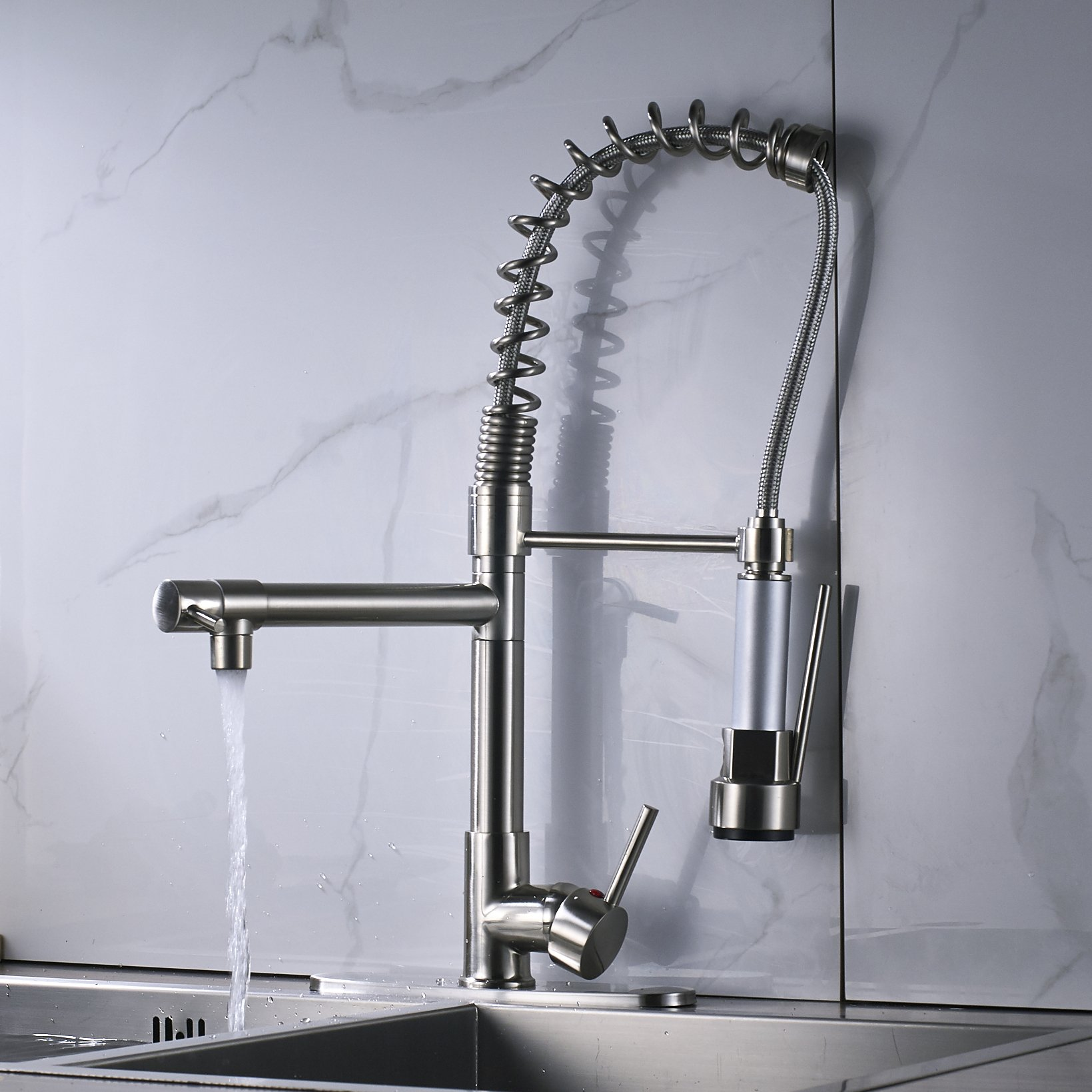 Rozin LED Light Sprayer Kitchen Sink Faucet with 8-inch Cover Plate Brushed Nickel by Rozin (Image #6)