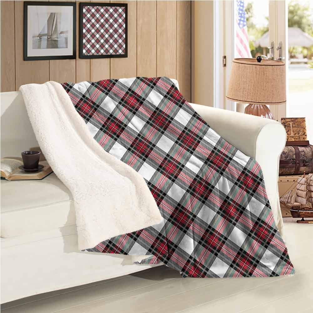 EMODFJCXZ Tartan Luxurious Plush Blanket Plaid Motif Rhombuses Digital Printing Blanket W60 x L30 Inch