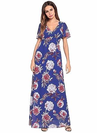 bf3d44c318c2 Jollyic Women's V Neck Maxi Dress Short Sleeve Blouson Waist Floral Chiffon  Dress at Amazon Women's Clothing store: