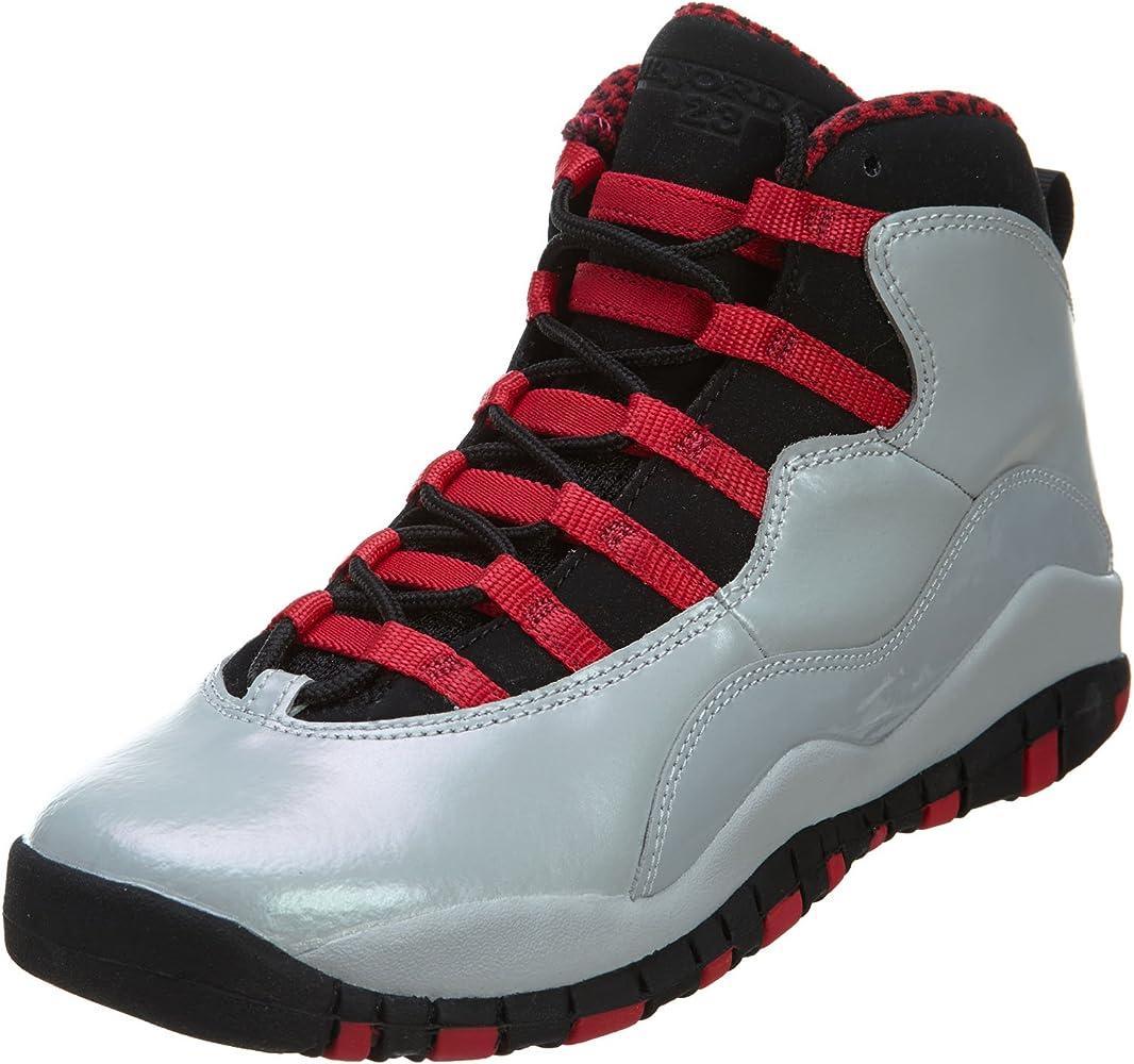 Nike Girls Air Jordan 10 Retro Kids Shoes Sneakers Wolf Grey/Legion Red/Black 87211-009