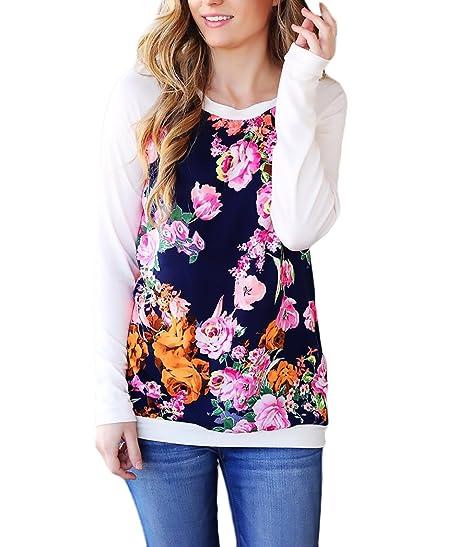 Mujer Camisetas Manga Larga Basicas Elegantes Estampadas De Flores Vintage Tops Blusa Otoño Invierno Cuello Redondo