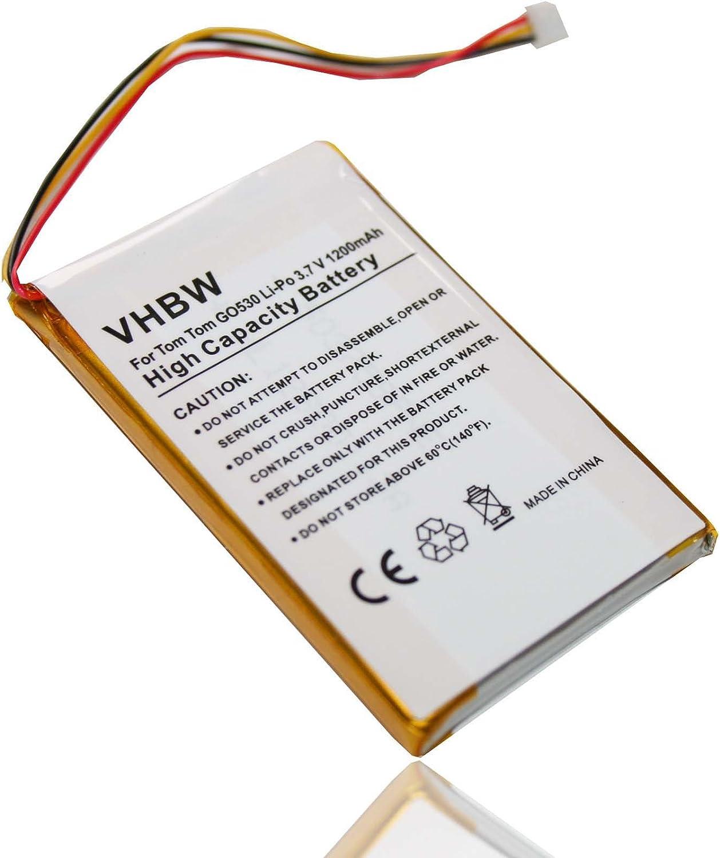 vhbw BATERÍA 1200mAh para GPS Tomtom Go 530, 530 Live, 630, 720, 730, 730 Traffic, 930, 930 Traffic como reemplazo de baterías 1697461.