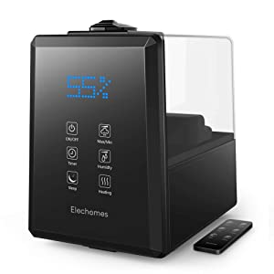 Elechomes UC5501 Ultrasonic Humidifier 6L Vaporizer Warm and Cool Mist for Large Room Baby Bedroom with Remote, Customized Humidity, LED Touch Display, Sleep Mode, 12-45 Hours, 550ml/h Max Humidity