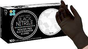 ASAP Black Nitrile Powder Free Industrial Multi-Purpose Gloves, Disposable, 5.5 mil, Black (Medium - Box of 100)
