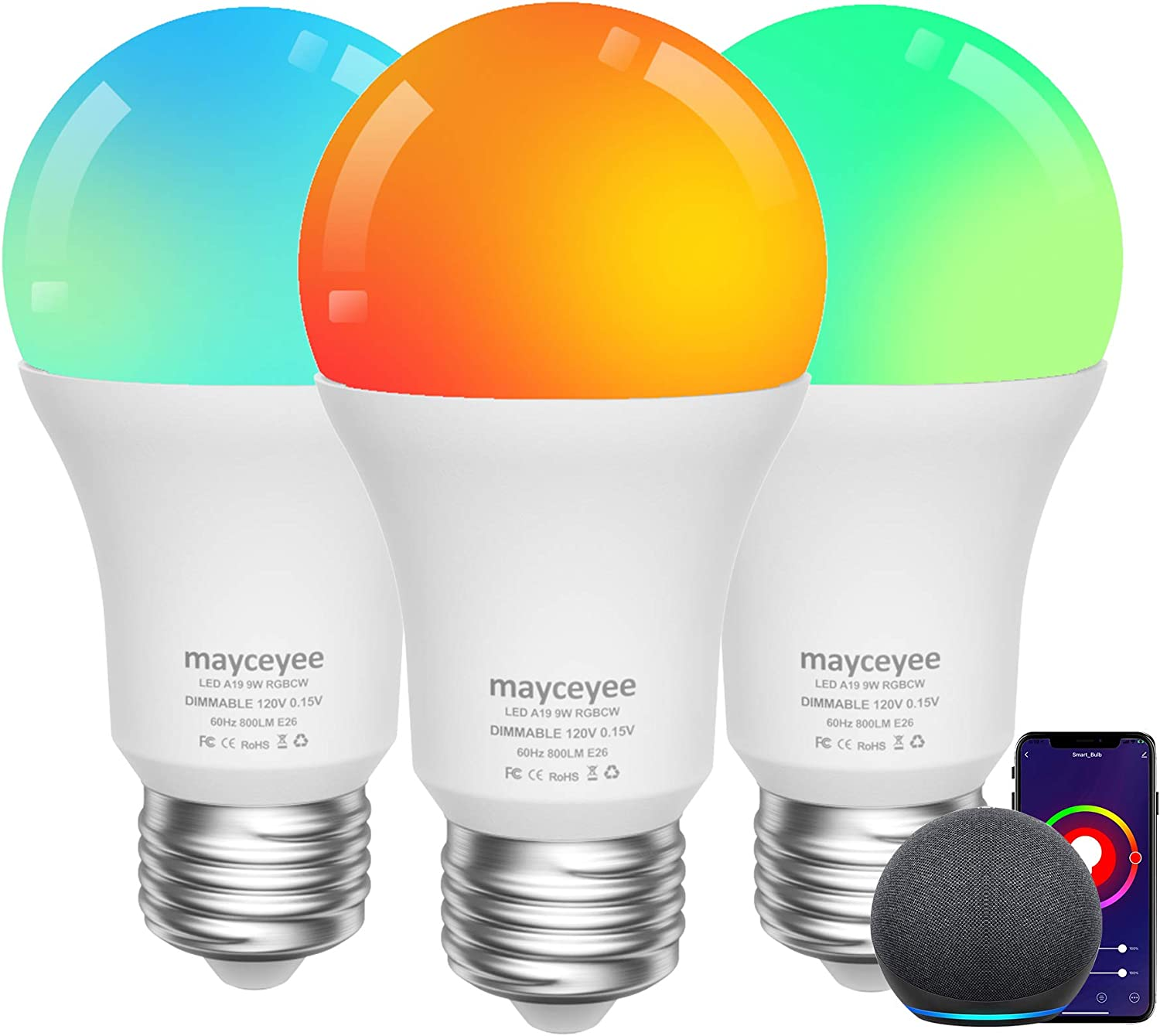 mayceyee Smart WiFi Light Bulb with E26 Base, LED RGBCW Color Changing, Work with Alexa and Google Home Assistant, A19 Multicolor Light for Home Decor, Stage and Party (3)