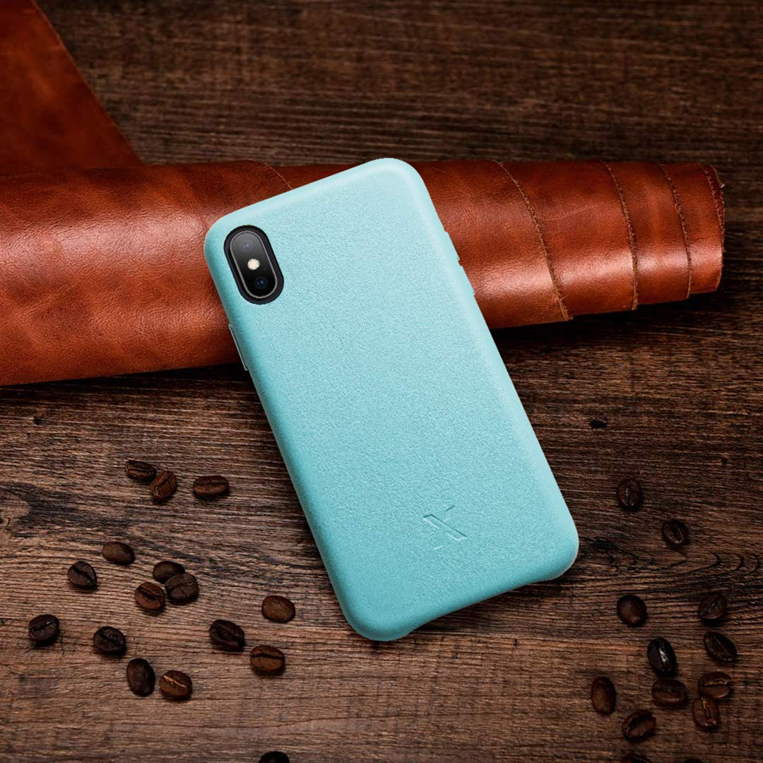 XCENTZ iPhone XR Leather Case Genuine Leather Case for iPhone XR, Slim Leather Hard Back Case for iPhone XR, Shockproof Anti-Slip Scratch Resistant Cases for Wireless Charging-Teal by XCENTZ
