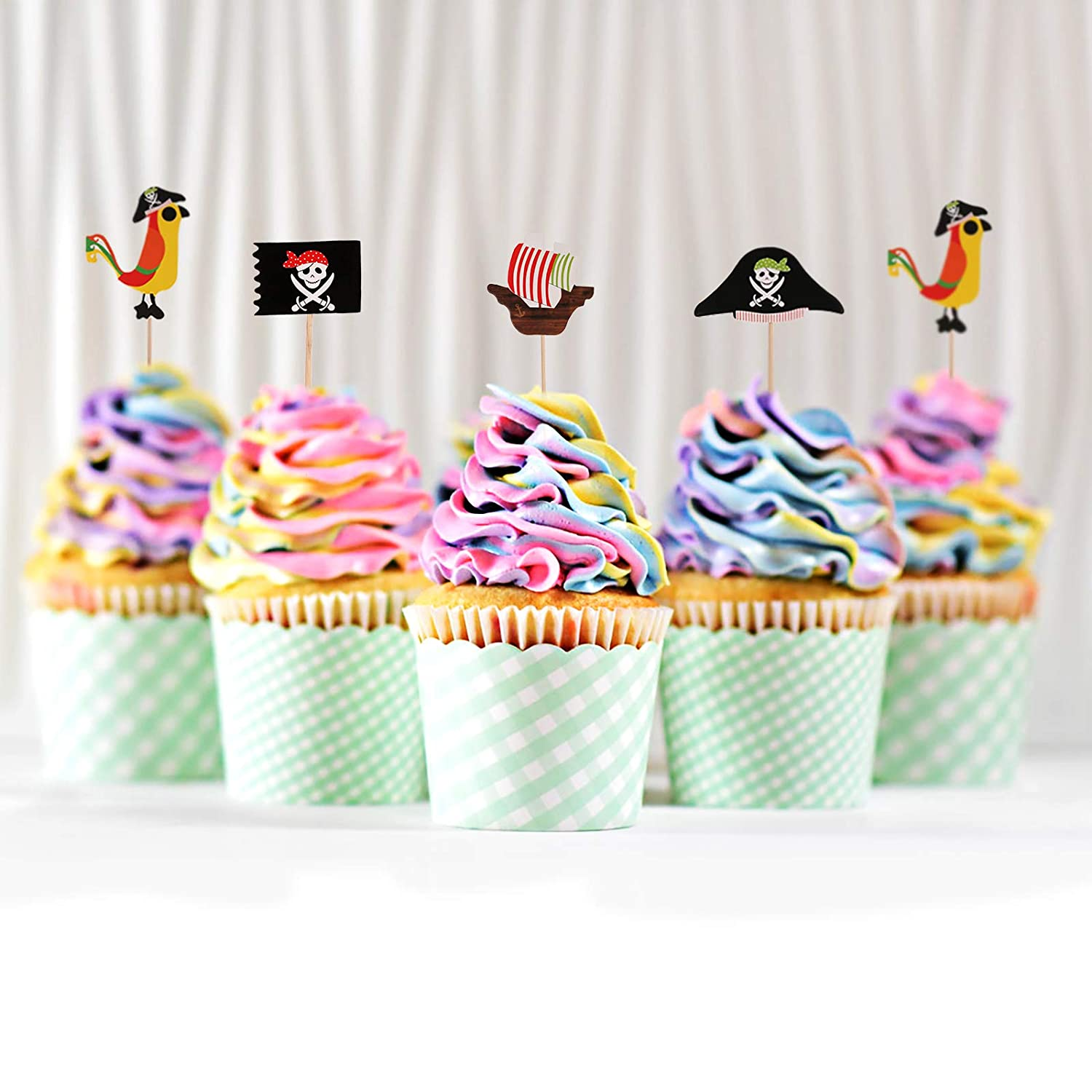Morfong 40 Pieces Pirate Cake Topper Cupcake Picks Decorating Cake Decoration for Kids Birthday Party Halloween Parties Supplies Favors