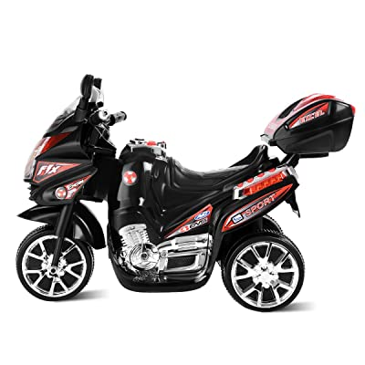 Gray Motorcycle 6V Battery Powered 3 Wheels Electric Bicycle Horn Ride On Vehicle with Music Headlights for Kids Costzon Ride On Motorcycle