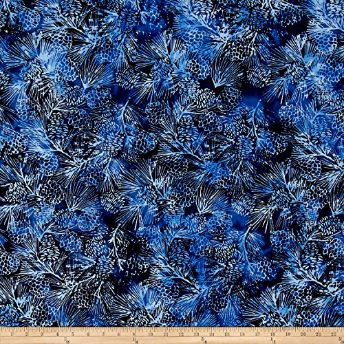 Island Batik Blue Moon Pinecone Ocean Fabric by The ()