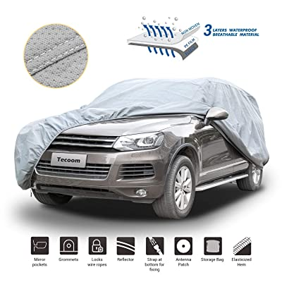 Tecoom HD Super Breathable Waterproof Windproof Snow Sun Rain UV Protective Outdoor All Weather SUV Cover Fit 180-195 inches SUV: Automotive