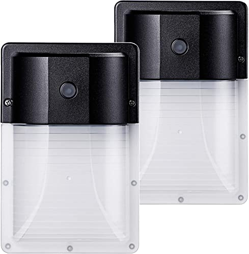 LEONLITE LED Wall Pack Light, 12W Dusk to Dawn Photocell, 3000K Warm White, ETL Listed, IP65 Waterproof Garage Door Security Porch Lights, Pack of 2