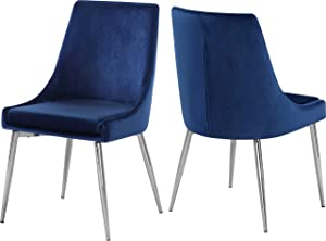 "Meridian Furniture Karina Collection Modern | Contemporary Velvet Upholstered Dining Chair with Sturdy Metal Legs, Set of 2, 19.5"" W x 21.5"" D x 33.5"" H, Navy"