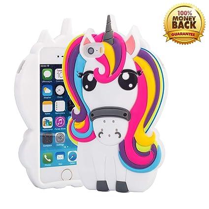 Amazon.com: Funda 3D colorida de unicornio para iPhone 5 5S ...