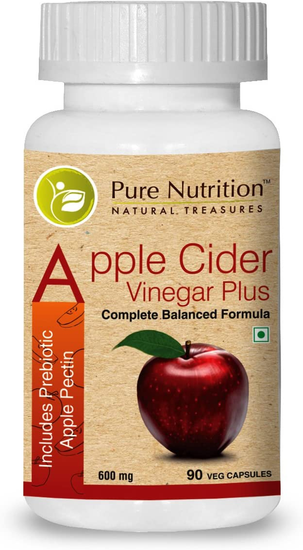Pure Nutrition Apple Cider Vinegar Plus with Apple Pectin - 600mg - 90 Veg Capsules | Each Capsule contain 300mg Apple Cider Powder and 50mg Prebiotic Apple Pectin
